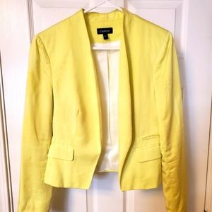 Bebe collar less blazer. Neon yellow. Size 8